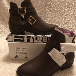 Brown Bamboo faux leather ankle boots Size 8